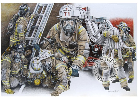 "KRAMER ORIGINAL- ""FIREFIGHTER MONTAGE"" 20""  X 30"""